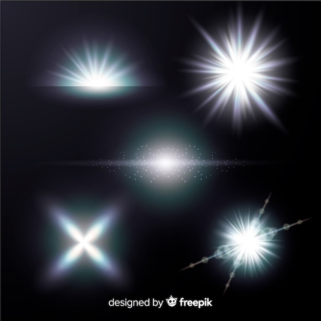 Bright white light effect collection Free Vector
