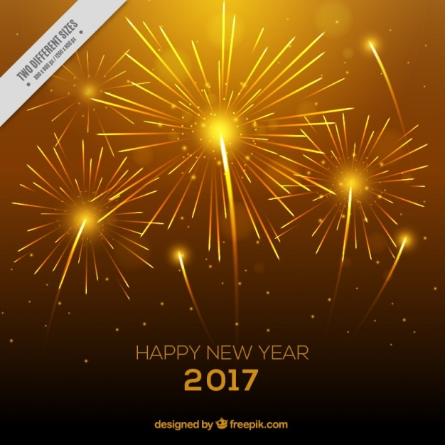 bright yellow background with fireworks for new years eve free vector
