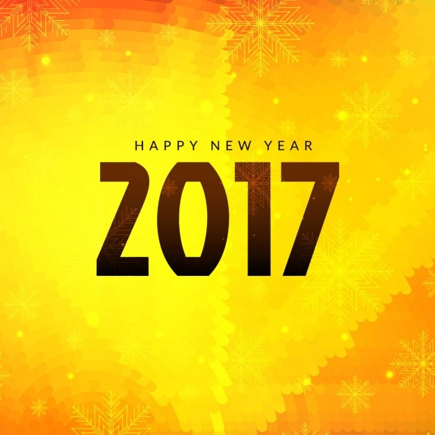 bright yellow new year 2017 background free vector