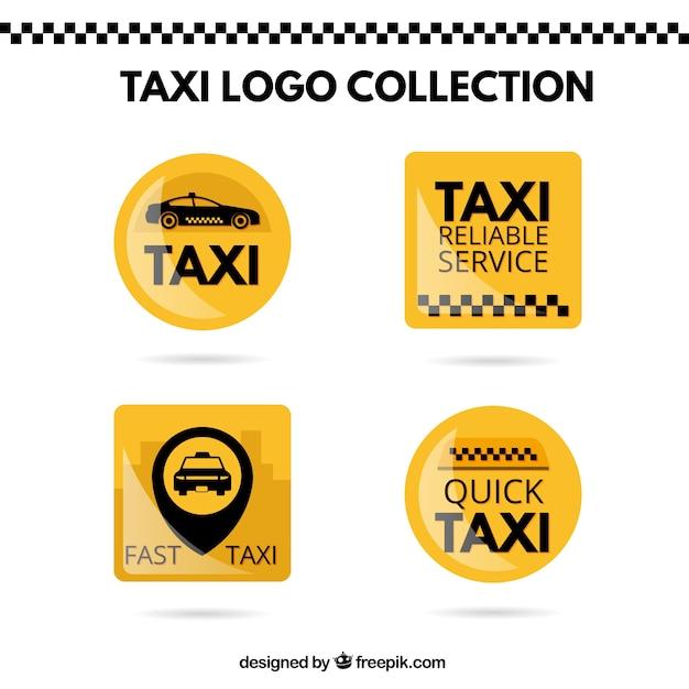Adesivi gialli luminosi set di un taxi Vettore gratuito