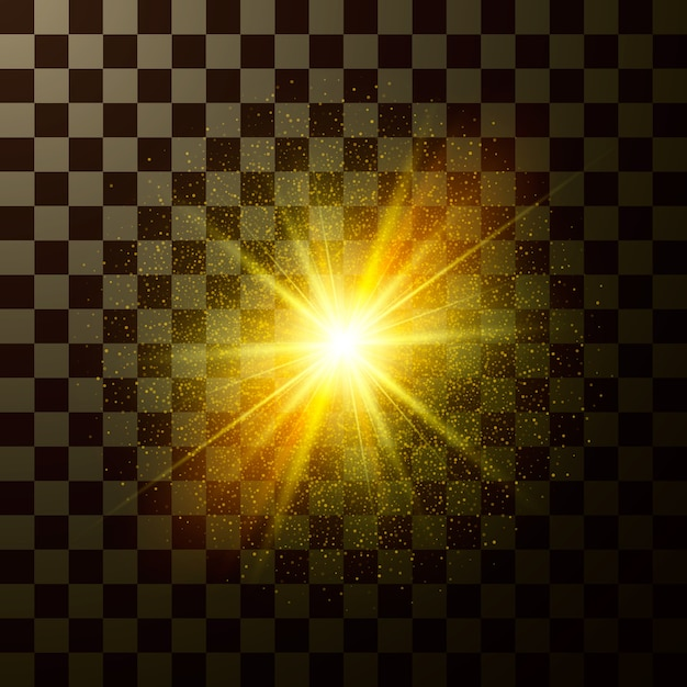 Brilliant star shining. design magical light with sparkles isolated on transparent background. mystic flash of christmas fantasy Premium Vector