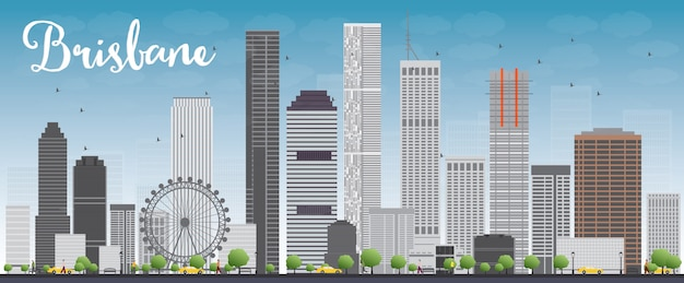 Brisbane skyline with grey building and blue sky Premium Vector