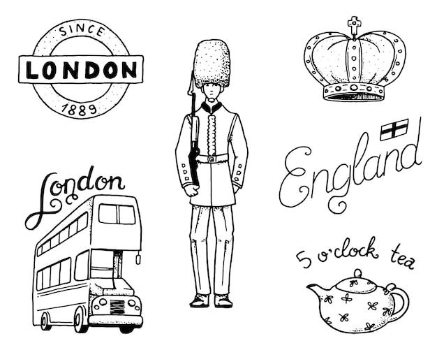 Англичане, корона и королева, чайник с чаем, автобус и королевская охрана, лондон и джентльмены. символы, значки или штампы, эмблемы или архитектурные памятники, великобритания. страна англия лейбл. Premium векторы