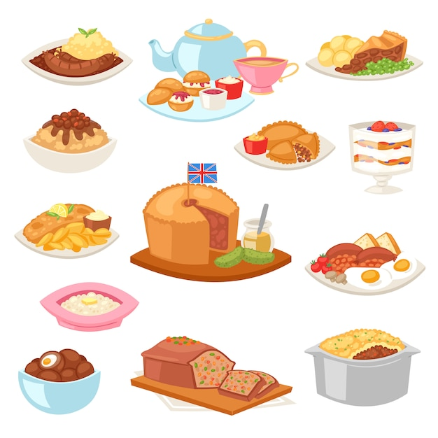 British food  english breakfast meal and fried meat with potato for dinner or lunch illustration set of traditional dishes in restaurant in britain  on white background Premium Vector