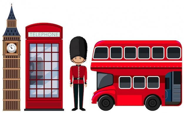 An british travel element on white background Premium Vector