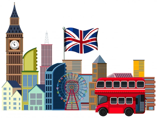 An british travel element on white background Premium Vector