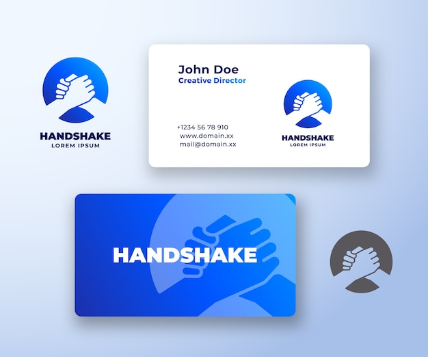 Bro handshake abstract  logo and business card template. Premium Vector