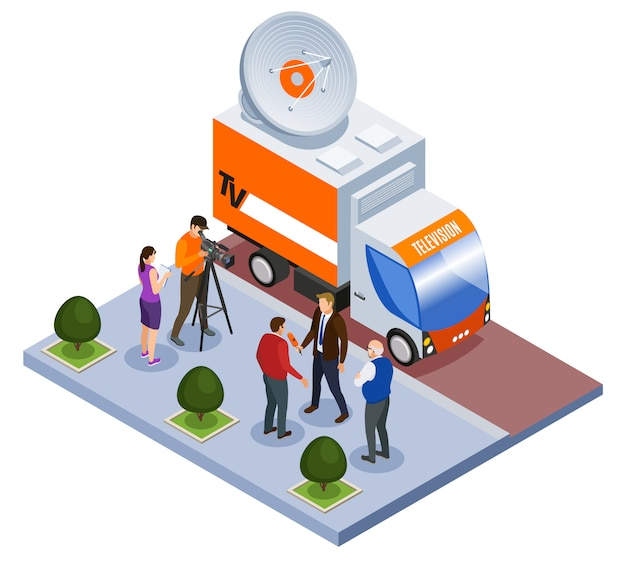 Broadcast telecommunication isometric composition television van and shooting team working outdoors vector illustration Free Vector