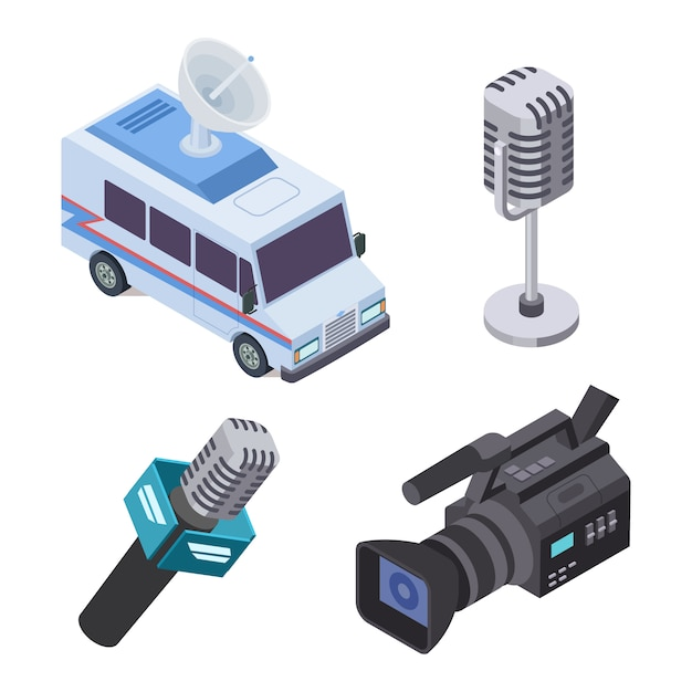 Broadcasting equipment. television stream electronics, telecommunications 3d isometric vector elements Premium Vector