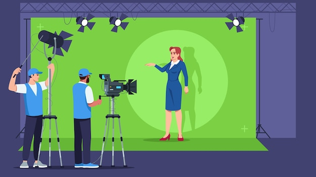 Вещательный полуавтомат. интерьер телевизионной студии. профессиональное оборудование для создания контента. живое видео. последние новости Premium векторы