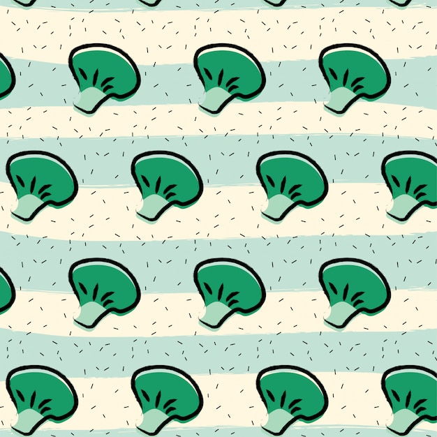 Broccoli fruit pattern background Premium Vector