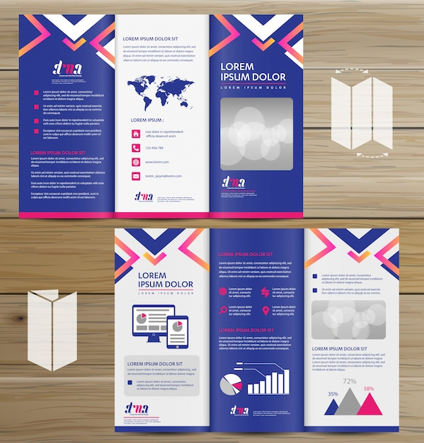 Brochure business tri fold leaflet flyer vector design Premium Vector