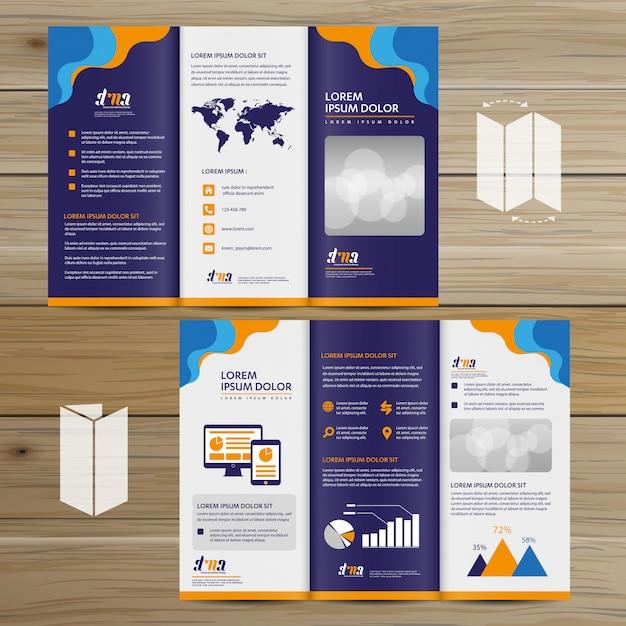 Brochure business tri fold leaflet flyer vector design Premium Vector