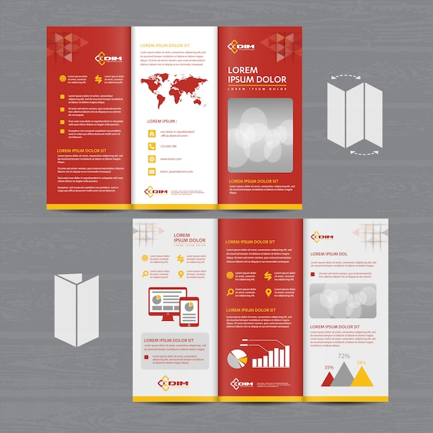 Brochure business tri fold leaflet flyer Premium Vector