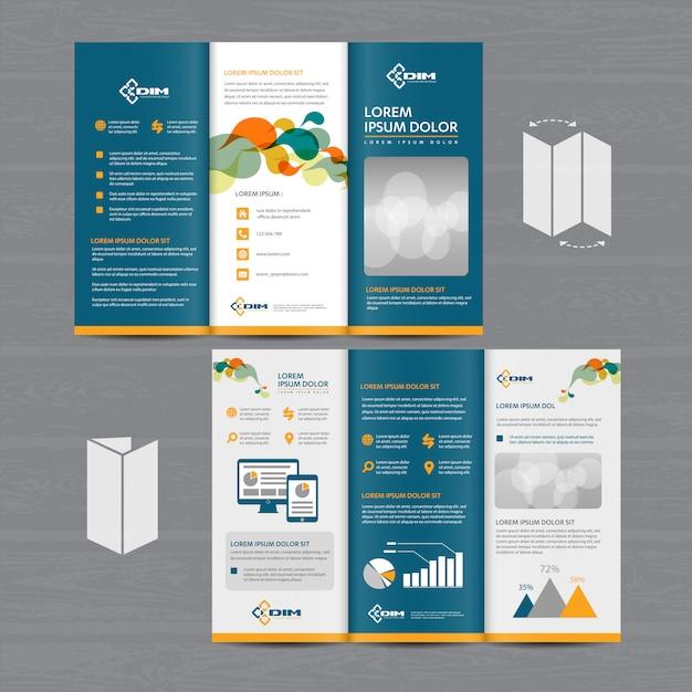 Brochure business tri fold Premium Vector