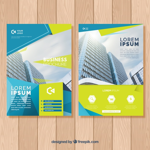 Brochure concept with building Free Vector