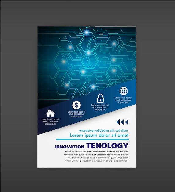 Brochure design template vector. abstract cover book blue portfolio minimal presentation p Premium Vector