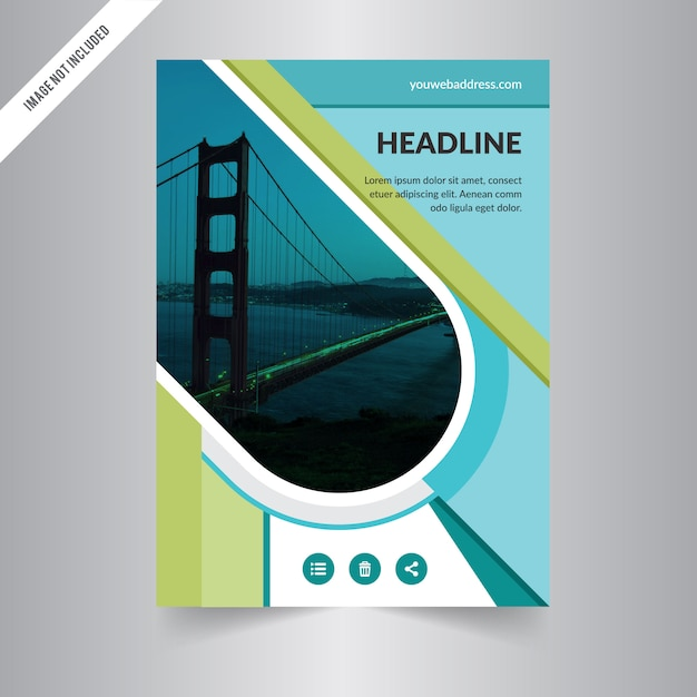 Cover Book Brochure Layout Vector ~ Brochure design template vector green abstract square