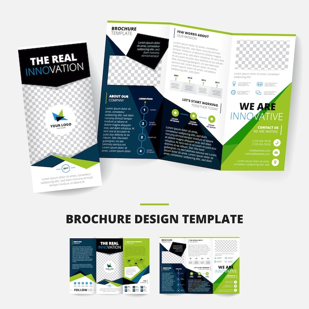 Brochure design template with geometric shapes information about company place for logo business inf Free Vector