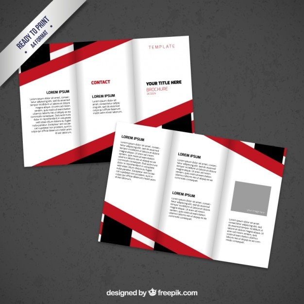 Brochure Design With Black And Red Lines Vector Free Download