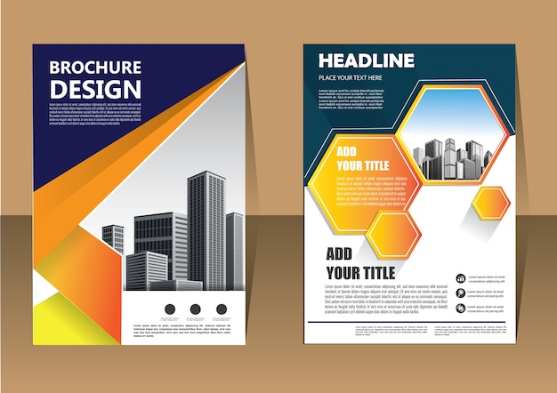 Brochure flyer layout business template for annual report Premium Vector
