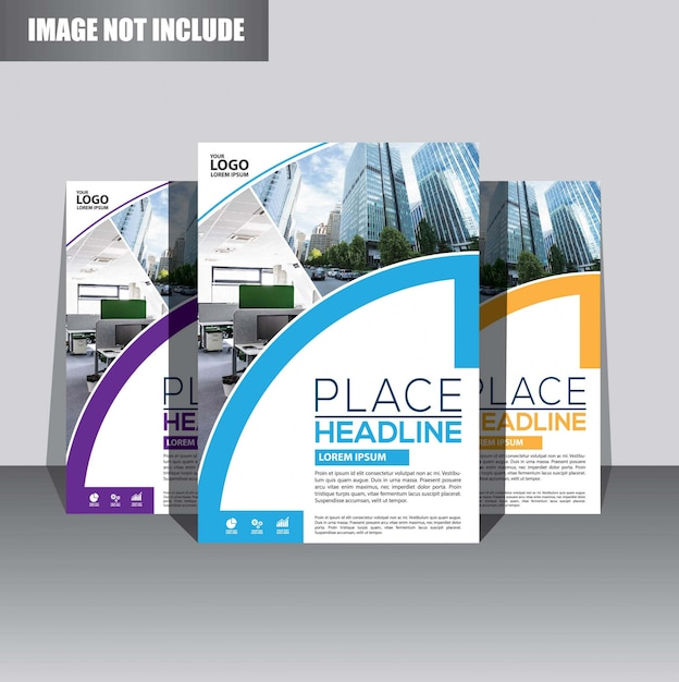 Brochure or flyer  template design for annual report cover Premium Vector