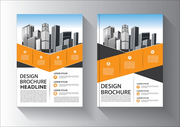 Brochure or flyer  template design with yellow and black color Premium Vector