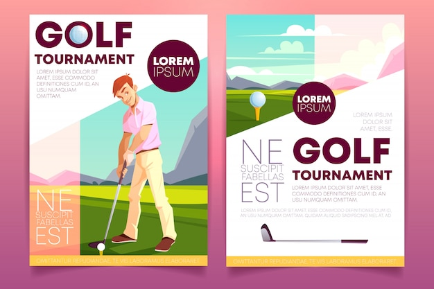 Brochure of a golf tournament. booklet with a man playing on green grass. Free Vector