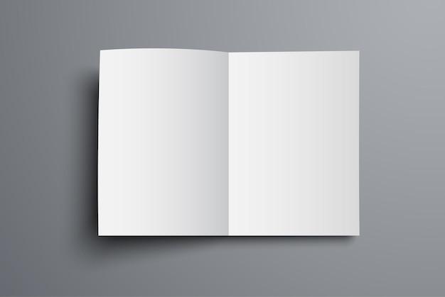 브로셔는 열린 첫 페이지의 평면도입니다. 범용 카탈로그 A4 또는 A5의 공백. 프리미엄 벡터