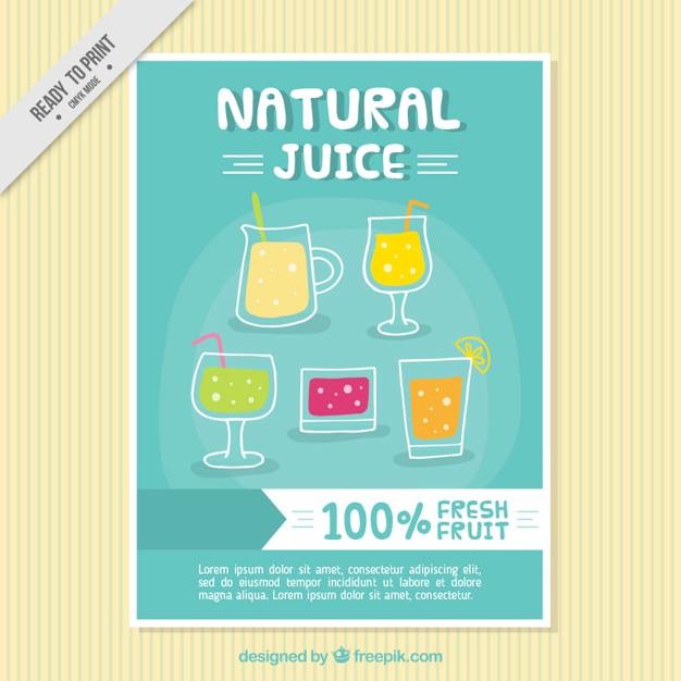 Brochure di succhi di frutta naturali Vettore gratuito