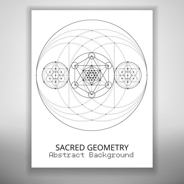 神聖な幾何学描画を持つ抽象パンフレットテンプレート 無料ベクター