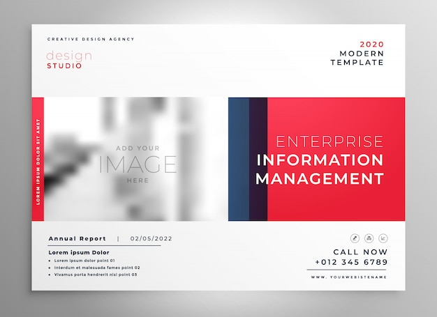 Brochure presentation design template in red color Free Vector
