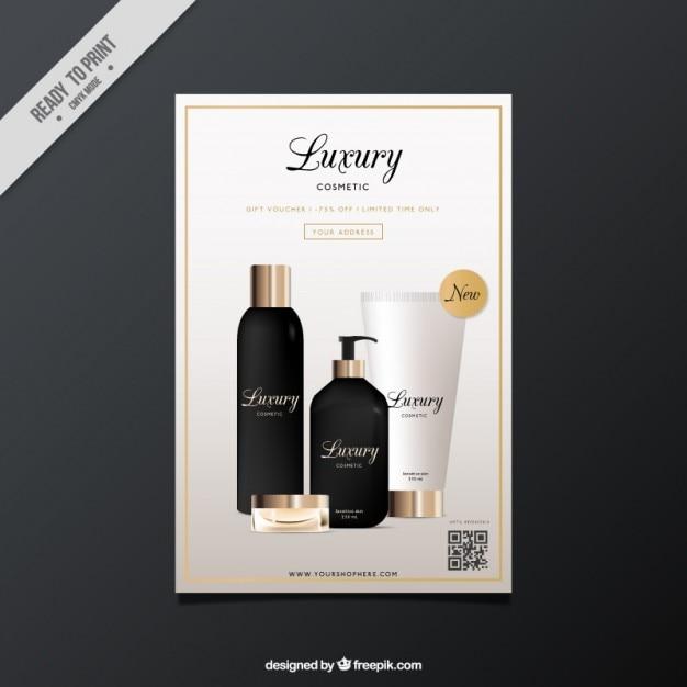 Brochure of realistic luxury cosmetics Free Vector