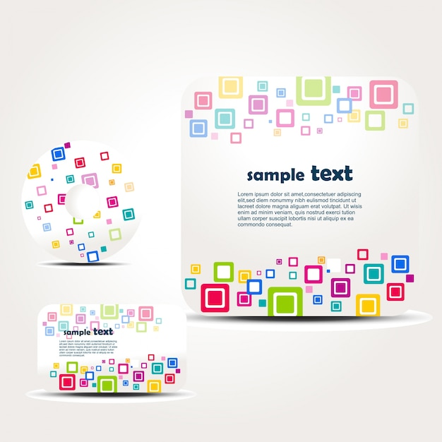 Brochure set with colorful squares