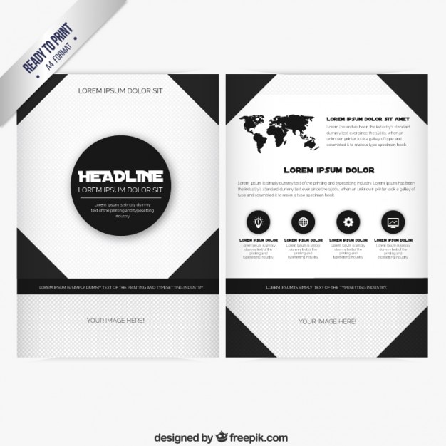 brochure template in black and white colors vector