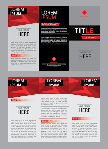 Brochure Template Design With Trifold Leaflet Vector Premium Download