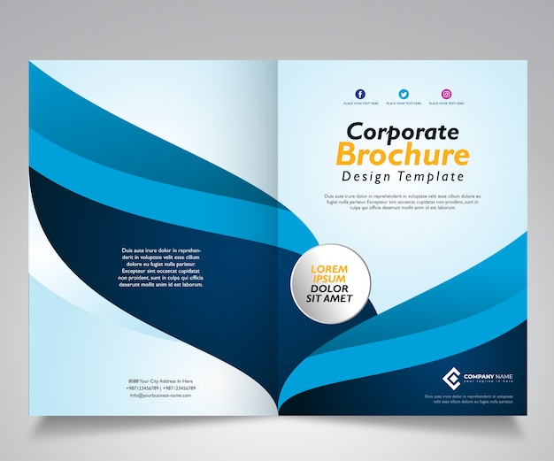 Brochure template design with wave blue design Premium Vector