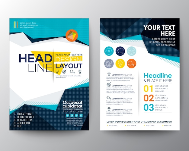 typography brochure design - brochure template design vector free download