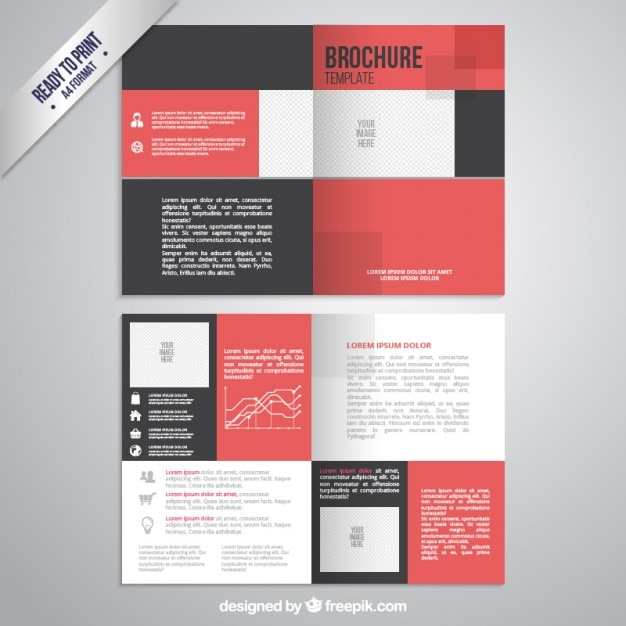 Brochure template in black and red color vector free for Brochure free templates