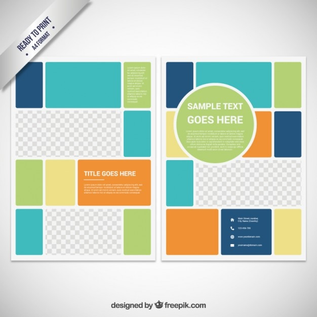 Brochure Template In Color Block Style Vector  Free Download