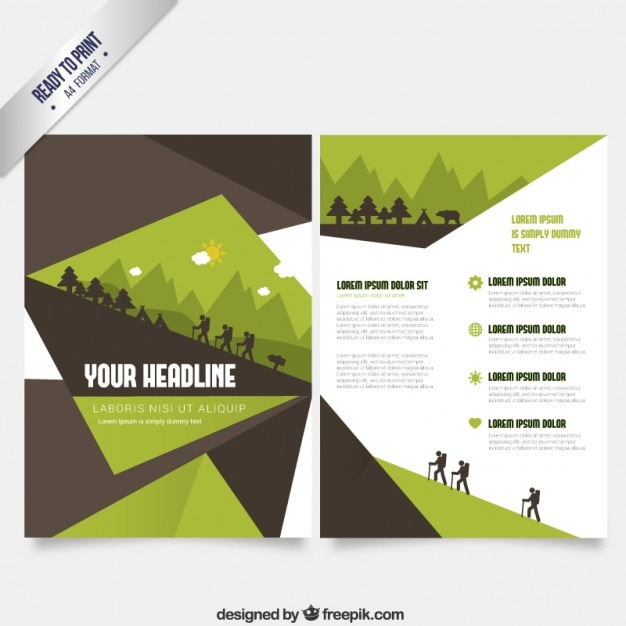 Brochure Template In Green And Brown Tones Vector | Free Download