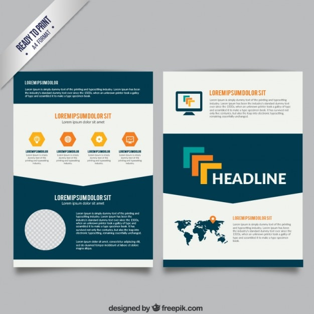 Brochure Template In White And Navy Blue Colors Free Vector