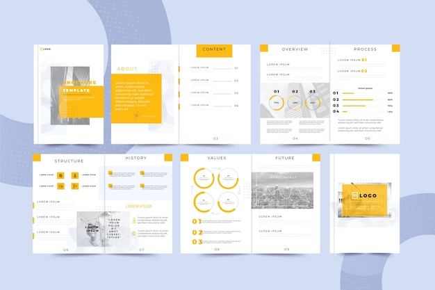 Brochure template layout set Free Vector