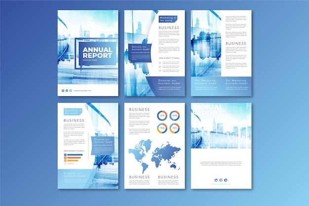 Шаблон макета брошюры с городом в голубых тонах Premium векторы