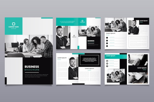 Brochure template layout with people Free Vector