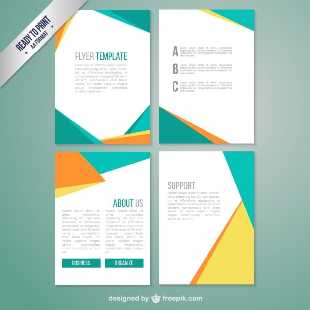 Brochure template with abstract geometric vector free for Free brochure template download
