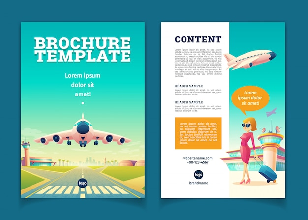 Brochure template with airplane takeoff. travel or tourism concept, girl with baggage Free Vector