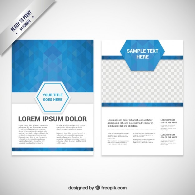 Brochure template with blue polygons Vector – Blue Flyer Template