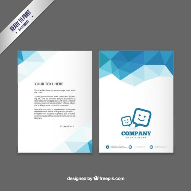 Charming Brochure Template With Blue Polygons Premium Vector