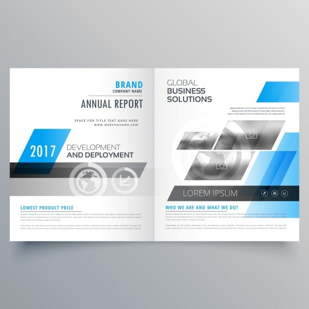 Brochure template with blue shapes Free Vector